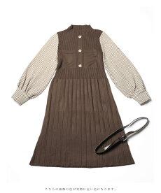 (S~L対応)千鳥格子袖のプリーツニットミニワンピース