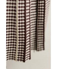 (S~L対応)細やかな柄模様の折りニットミディアムスカート