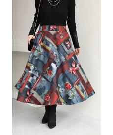 (S~3L対応)心惹かれる紅い花。アーティスティックなミディアムスカート