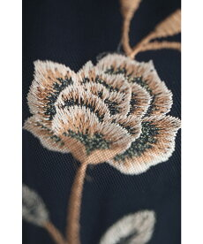 ☆☆(S~L対応)(黒)チュールベールが重なる薔薇咲くロングワンピース