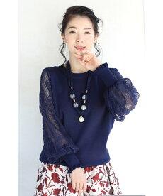 (S~2L対応)(紺)ネックレス付き。波うつレースのポワン袖ニットトップス