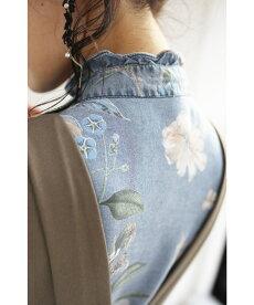▼▼(S~2L対応)煌めきを纏う花のデニム風シャツトップス