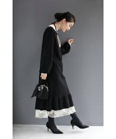 (黒)レース揺らめくフリル裾ニットミディアムワンピース