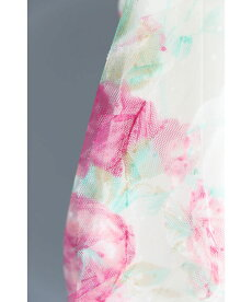 ▼▼(S~L/2L~3L対応)波打つ花柄チュール袖のベールブラウストップス
