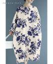 【再入荷♪8/20 12時&20時】(S~3L対応)ロイヤルブルーの花画コクーンシルエットロングワンピース