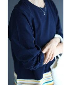 (S~L対応)(濃紺)結ぶボーダー裾のプルオーバートップス
