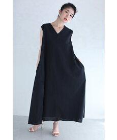 (S~2L対応)(紐ベルト付き)(黒)シンプルこそ美しい。涼やかロングワンピース