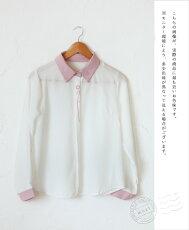 (ピンク)「mori」泡雪の花を可憐にあしらってブラウス3月16日22時販売新作