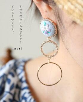 「mori」すみれ花のくるみボタンとビジューのピアス。7月12日22時販売