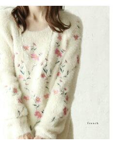 【大特価:アウトレット:返品・交換不可】「FRENCH PAVE」■■可愛いピンクの花刺繍のゆるふわニットトップス