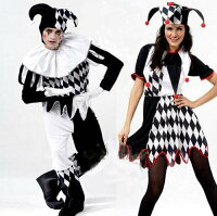 ◆送料540円◆コスプレトランプジョーカーピエロコスチューム男性/女性用道化師コスプレ舞踏会学園祭コスプレ衣装仮装コスチュームハロウィン