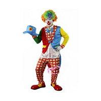 コスプレピエロ衣装6点フルセット服+靴+手袋+帽子+マスク+カラーアフロ大人用男性ピエロ衣装コスチューム