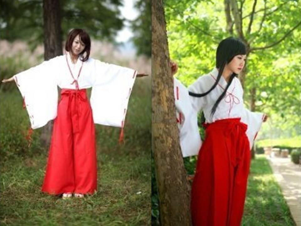 巫女みこさんコスプレ衣装コスチューム袴(ズボン)タイプ犬夜叉桔梗女性