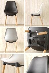 【送料無料】チェア(BK/GY/WH)チェアーホワイトブラックグレー椅子イスワークチェアデスクチェアダイニングチェアカフェ北欧イームズ風黒白灰色木脚レザーオシャレシンプルオフィスチェア可愛いインテリア作業イス