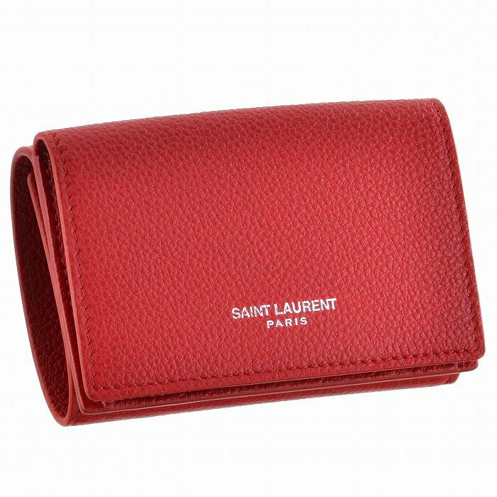 f3525f327203 サンローラン パリ 財布 レディース 三つ折り ミニ財布 タイニーウォレット レッド系 BANDANA RED