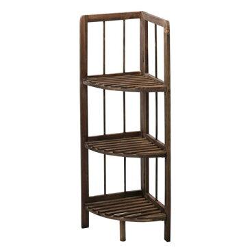 折りたたみ棚 木製フォールディングシェルフ コーナー ブラウン LFS-365BR【代引不可】