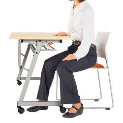 ライオン事務器デリカフラップテーブル(レクスト)W1800×D600×H720mmホワイトLXT-M1860PR486-42