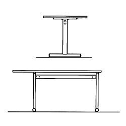 【受注生産品】アイリスチトセミーティングテーブルスタンダードオフィステーブルT字脚半楕円天板片アール天板樹脂エッジW1500×D900×H700mmCSOT-1590HT
