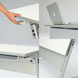 生興テーブルSTE型スタックテーブルW1500×D450×H700天板ハネ上げ式スライドスタック式棚付STE-1545T