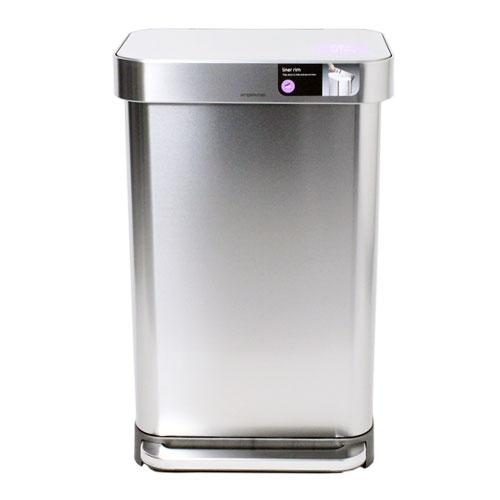 シンプルヒューマン CW2024 レクタンギュラー ステップカン ポケット付 シルバー 45L ゴミ箱 SIMPLEHUMAN 【送料無料(一部地域除く)】