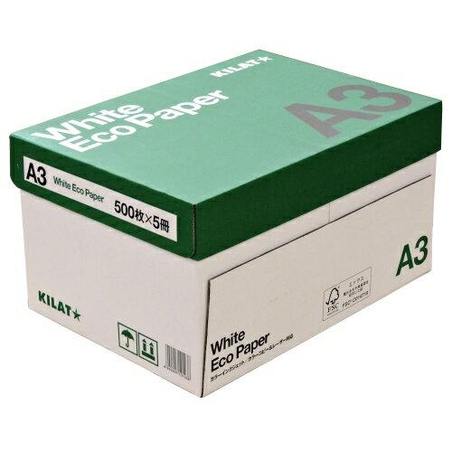 コピー用紙 ホワイトエコペーパー A3サイズ 1箱 2500枚(500枚×5冊)高白色 OA用紙 印刷用紙 用紙『送料無料(一部地域除く)』画像