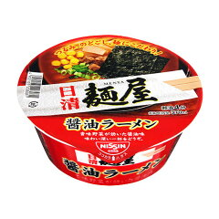喉ごしのよい麺に、香味野菜の旨みと胡椒の風味が効いたスープ。日清麺屋 醤油ラーメン 73g