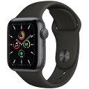 【あす楽対応_関東】 【国内正規品】APPLE(アップル)Apple Watch SE GPSモデル 40mm MYDP2J/Aスペースグレイアルミニウムケースとブラックスポーツバンド[4549995162639]・・・