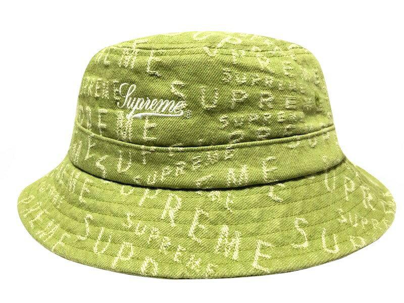 メンズ帽子, ハット SUPREME 21SS Warp Jacquard Logos Denim Crusher HAT SAGE