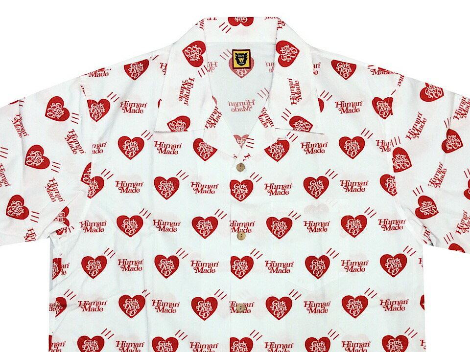 トップス, カジュアルシャツ HUMAN MADE GIRLS DONT CRY OPEN 19SS HEART ALOHA SHIRT WHITE RED NIGO VERDY GDC
