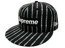 SUPREME シュプリーム ニューエラ コラボ 19SS 黒 Text Stripe New Era cap ボックスロゴ ニューエラキャップ BLACK