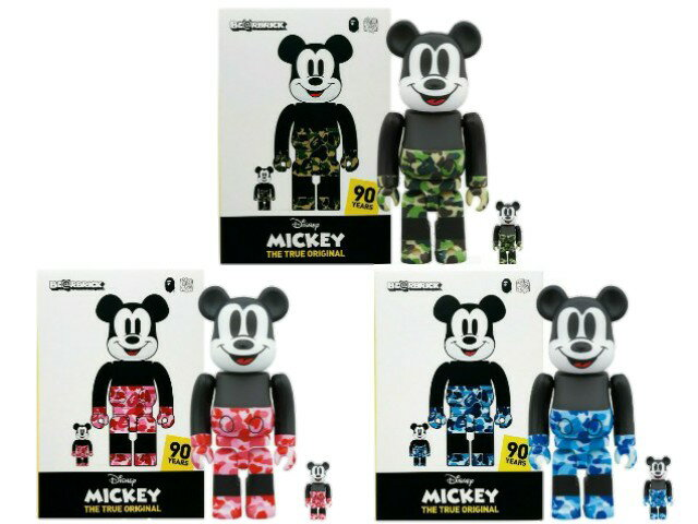 コレクション, キャラクタードール A BATHING APE MEDICOM TOY MICKEY 90TH BAPE BERBRICK 100400 3SET 19AW 100 400 GREEN BULE PINK 3(6) Disney