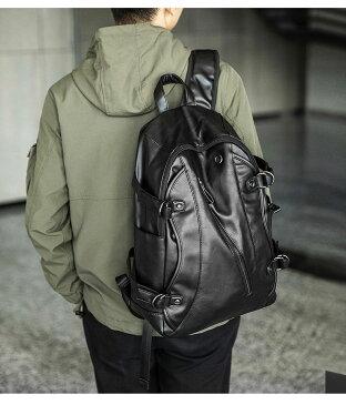 リュックサック メンズ PU革 パック レザー PU革 黒 撥水 大容量 通勤 通学 自転車 旅行 リュック ディパック バックパック ビジネスリュック パソコンバッグ ブラック シュリンクレザー 革 鞄