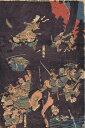 歌川国芳 「俱利伽羅峠合戦」3枚揃 木版錦絵