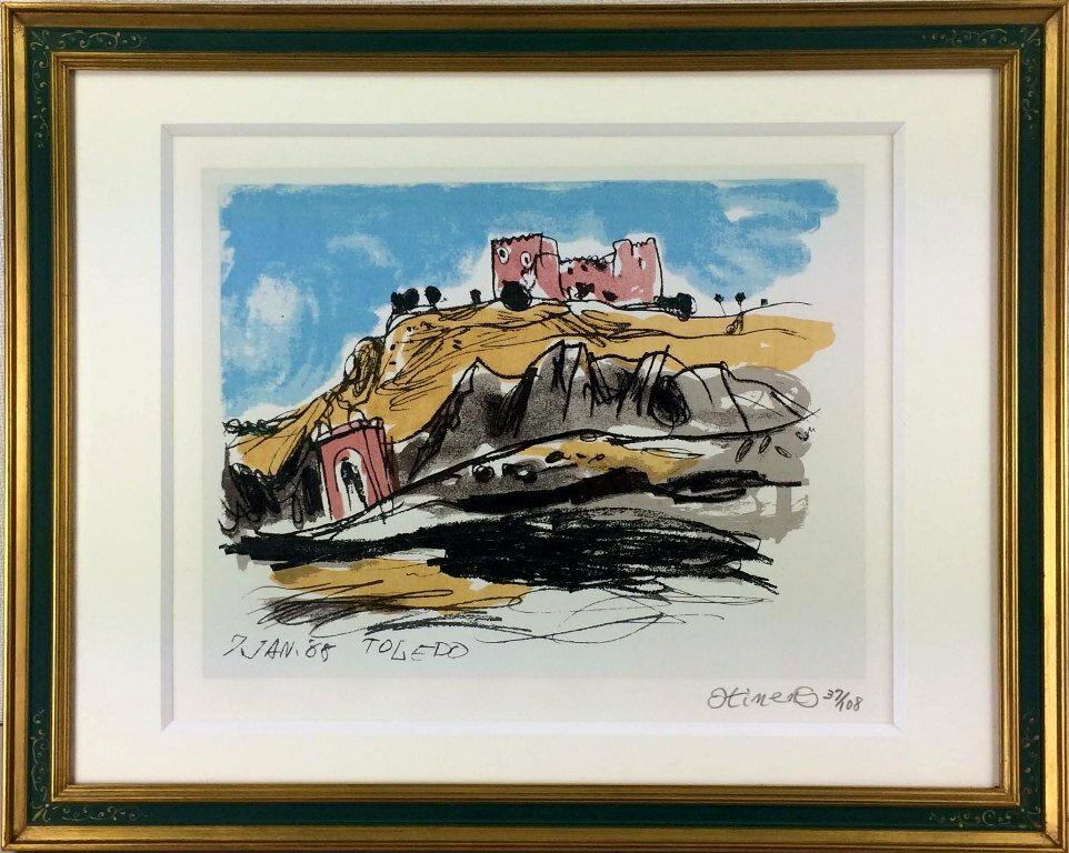 曽宮一念 「トレドの城山」 リトグラフ:小野画廊