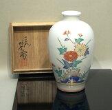 酒井田柿右衛門(十三代)「錦岩菊紋花瓶」共箱