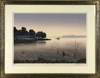 宮本秋風「湖畔の朝」木版