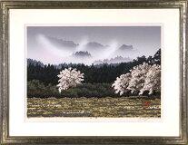 宮本秋風「野桜」木版