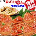 送料無料 ズワイ カニ/蟹/ずわい ボイル ズワイガニ 姿 (カナダ産) 3kg(4杯、不揃い)鍋セット 材料 鍋