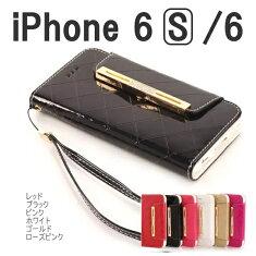 送料無料iphone6ケース手帳エナメルレザー横開き手帳型ケースかわいいおしゃれ右開きiphoneカバースマホケースレザーケースアイホン6ケースアイフォン6ケースiPhone64.7インチストラップ付き