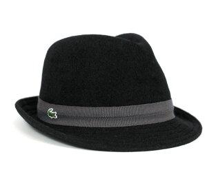 ★ラコステ バスク マニッシュ ハット ブラック LACOSTE HAT BLACK [ 帽子 フェドラ 中折れ ウ...