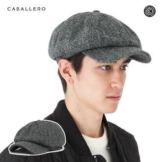 卡瓦列羅 x 哈裡斯粗花呢鴨舌帽報童阿爾梅裡亞灰色帽子 CABALLERO × 哈裡斯斜紋軟呢帽 CASQUETTE 粗花呢灰色 [GY],[大尺寸男士] #CQ
