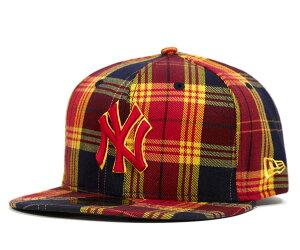 ★ニューエラ キャップ フィッティド ニューヨーク ヤンキース スカーレット 帽子 NEWERA PLAID...