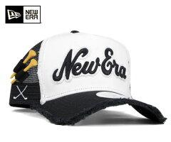 ★ニューエラ ゴルフ メッシュキャップ Aフレーム トラッカー ダメージ ホワイト 帽子 NEWERA G...
