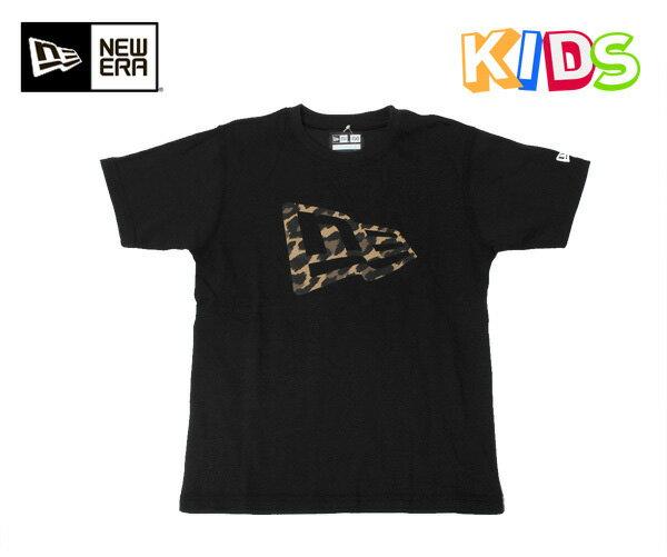 ニューエラ キッズ レオパード フラッグロゴ Tシャツ ブラック