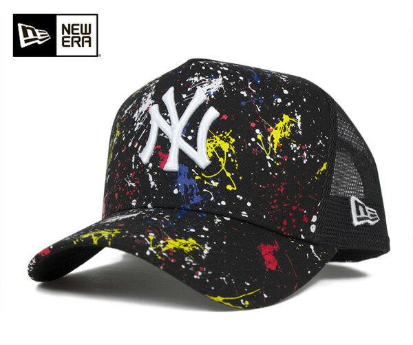 オンスポッツ別注 ニューエラ メッシュキャップ Dフレーム ニューヨークヤンキース スプラッシュプリント ブラック NEW ERA 帽子 メンズ レディース 送料無料