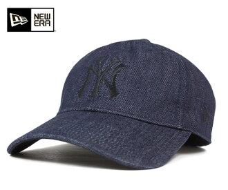 新伊拉斯塔斯保鮮紙背蓋子紐約揚基隊靛藍粗斜紋布帽子New Era 9TWENTY STRAPBACK CAP NEW YORK YANKEES INDIGO DENIM[蓋子人帽子]
