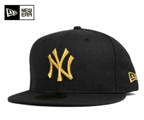 NEW ERA(ニューエラ) 59FIFTY キャップ MLB ニューヨークヤンキース ブラック ゴールド 11308572...