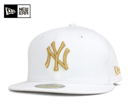 NEW ERA(ニューエラ) 59FIFTY キャップ MLB ニューヨークヤンキース ホワイト ゴールド 11308531...