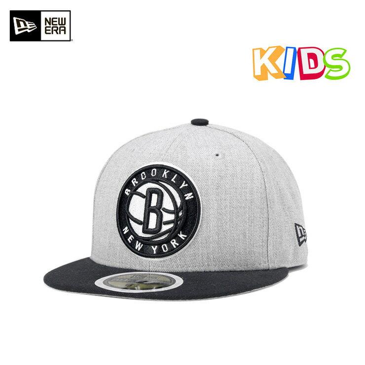 NEW ERA(ニューエラ) キッズ 59FIFTY キャップ ヘザーアクション NBA ブルックリン ネッツ グレー KIDS 帽子 男の子 女の子