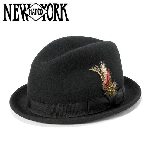 ニューヨークハット(NEW YORK HAT)フェドラハット ピンチド スティンジー ブラック 帽子 FEDORA ...